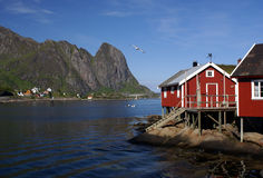 Fisherman's houses on Lofoten Stock Photo