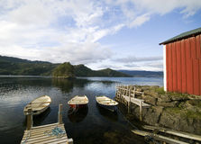 Fisherman's hut, fjord scenic Stock Photo