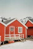 Fisherman's hut. Red fisherman's house in winter Stock Photos