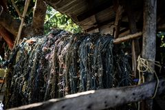 Fisherman's messy looking fishing net. Messy looking fishing net piled up on wooden stick in a fisherman's old shack royalty free stock image