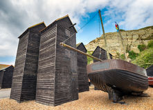 Fisherman's Net Huts at Hastings Stock Photos