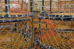 Fisherman's nets. Yellow and orange fisherman's nets stock photography