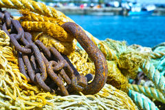 Fisherman's nets in old harbor in France Royalty Free Stock Photo