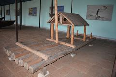 Indian old fishing boat The history of boats. Fisherman`s old fishing boat at Odisha state museum Cuttack, Odisha, India. Built from wood. In which the poor royalty free stock image