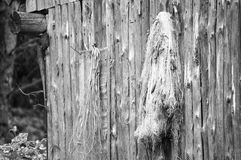 Fishermans old fishing net. Retro photo of old fishing net hanging on the wall. Photo has taken in small village near Russia Federation stock images