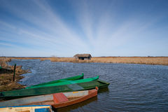 Fisherman's old hut by the river Stock Photo