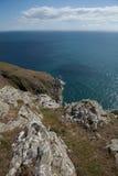 Fisherman's point. A cliff top view of Fisherman's point, coast path, Cilan Head, Lleyn peninsular, Gwynedd, Wales, UK stock image