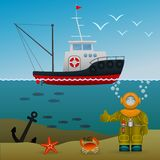Fisherman s ship in the open sea. Diver under water on the seabed. Sea inhabitants and the lost anchor. Cartoon image. Vector illustration Stock Photo