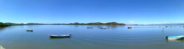 Fisherman small boat . Marine transportation Royalty Free Stock Images