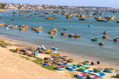 Fisherman's village on beach Stock Image