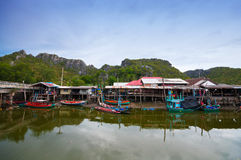 Fisherman's village in Thailand Royalty Free Stock Images