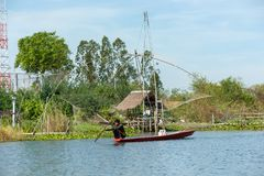 Fisherman`s village in Thailand with a number of fishing tools called royalty free stock images