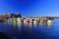 Boathouses at Fisherman`s Wharf at the Inner Harbour in Victoria, British Columbia royalty free stock photography