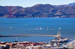 Fisherman's Wharf Golden Gate Bridge San Francisco. Fisherman's Wharf Golden Gate Bridge Sailboats from Coit Tower San Francisco California on Telegraph Hill royalty free stock photography
