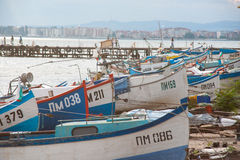 Fishermans Wharf in Pomorie, Bulgaria Royalty Free Stock Photography