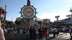 Fisherman`s Wharf tourists stock video