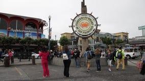 Fisherman`s Wharf tourists stock video footage