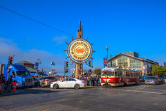 Fisherman`s Wharf vintage streetcar Royalty Free Stock Image