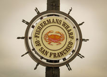 Fisherman`s Wharf. Well known sign of Fisherman`s Wharf in San Francisco stock photo