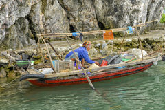Fisherman's woman in Ha Long Bay, Vietnam Stock Photography