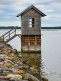 Fisherman`s wooden house stock photo