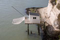 Fisherman's wooden hut by the sea in the south west of France, near Royan and Meschers-sur-Gironde Stock Photos