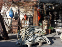 Fisherman's yard. With nets and ropes stock images