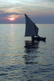 Fisherman sailing Boat silhouette Royalty Free Stock Image