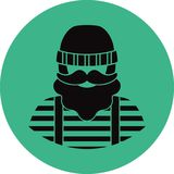 Fisherman/sailor man flat icon -. A man with a mustache a beard wearing an  in vest and overalls jumpsuit boots and knit hat. Template for card, poster, banner Stock Image