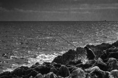 Fisherman in the sea side in black and white royalty free stock images