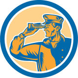 Fisherman Sea Captain Binoculars Circle Retro Royalty Free Stock Photos