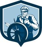 Fisherman Sea Captain Shield Retro Stock Images