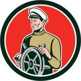 Fisherman Sea Captain Wheel Circle Retro Stock Images