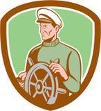Fisherman Sea Captain Wheel Shield Retro Stock Images