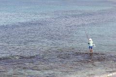 Fisherman in the Sea of Galilee Stock Image