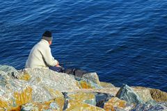 Fisherman sea people hobby Stock Photo