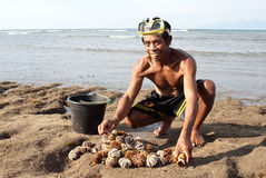 Fisherman with sea urchins Royalty Free Stock Images