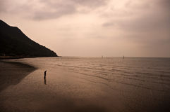 Fisherman searching for clams when ebb tide. A fisherman standing on the shore searching for clams when ebb tide in the evening at Tai O, Lantau island, Hong Stock Photo