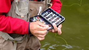 A fisherman selects a fly in a case on a hook. Fly fishing. Hands of an elderly man close-up. Sport and hobbies. Fly fishing. A fisherman selects a fly in a stock video