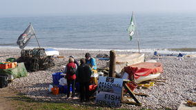 Fisherman selling his catch on a beach in England Royalty Free Stock Images