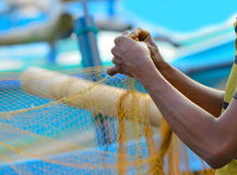 Fisherman sets of fishing gear Stock Image