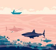 Fisherman and sharks. Silhouette of fisherman in the boat and three big sharks on a sea. Vector tropical illustration with ocean underwater creatures and angler stock illustration