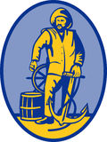 Fisherman ship captain helm Royalty Free Stock Photos