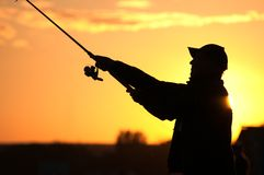 Fisherman silhouette Stock Photo