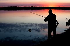Fisherman silhouette Royalty Free Stock Photography