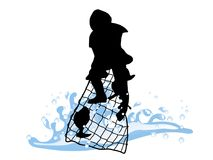 Fisherman. Silhouette of fisherman isolated on white background Stock Photos