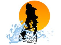 Fisherman. Silhouette of fisherman isolated on white background Stock Images