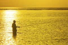 Fisherman silhouette Royalty Free Stock Photos