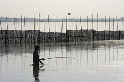 Fisherman Silhouette. Stock Photography