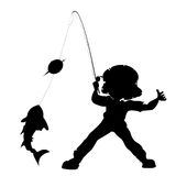 Fisherman silhouette. Over white background